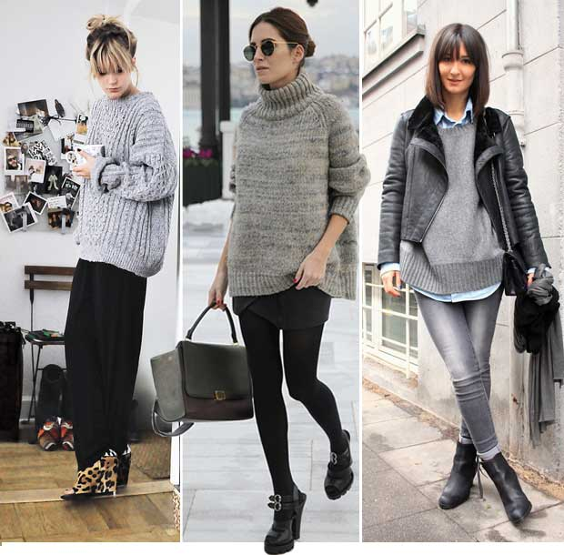 Street Style blog gray sweaters
