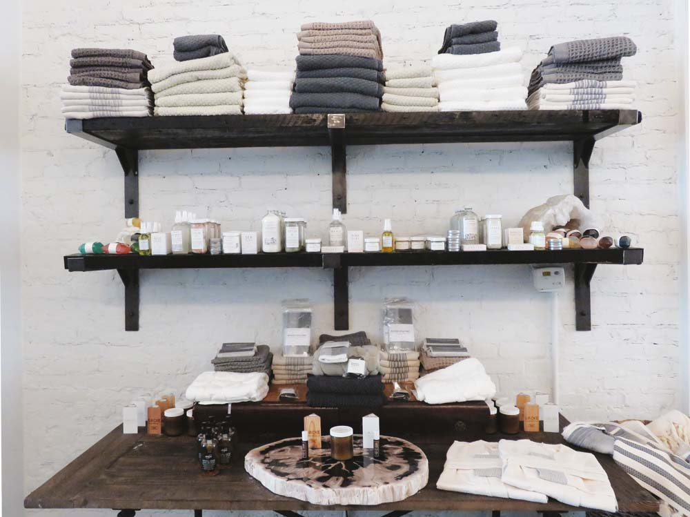 Super soft towels and a fairly extensive line of grooming products round out the selection