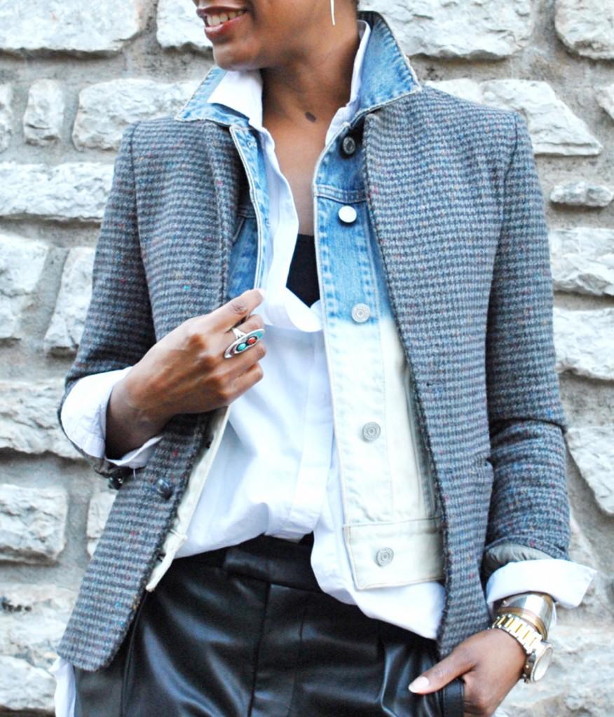 fashion stylist blog blazer denim vest layers